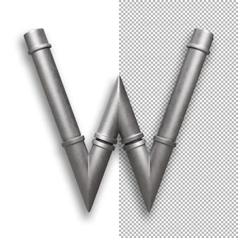 Tubo di metallo, alfabeto w