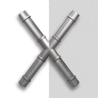 Tubo di metallo, alfabeto x