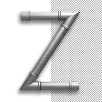 Tubo metallico, alfabeto z