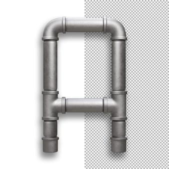 Tubo metallico, alfabeto a