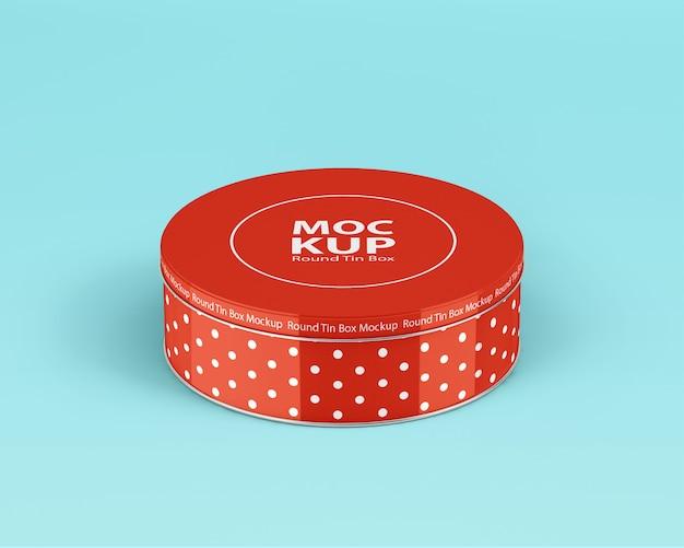 Mockup di latta rotonda in metallo Psd Premium