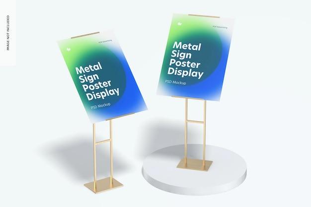 Mockup di esposizione del pavimento del manifesto dei segni del metallo, prospettiva