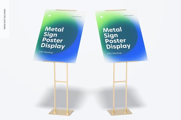 Insegne in metallo poster da pavimento mockup