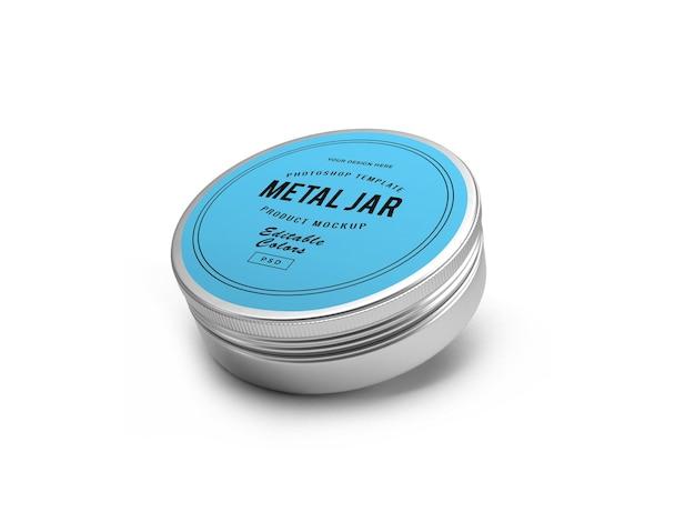 Progettazione di mockup 3d di barattoli di latta di metallo nel rendering 3d