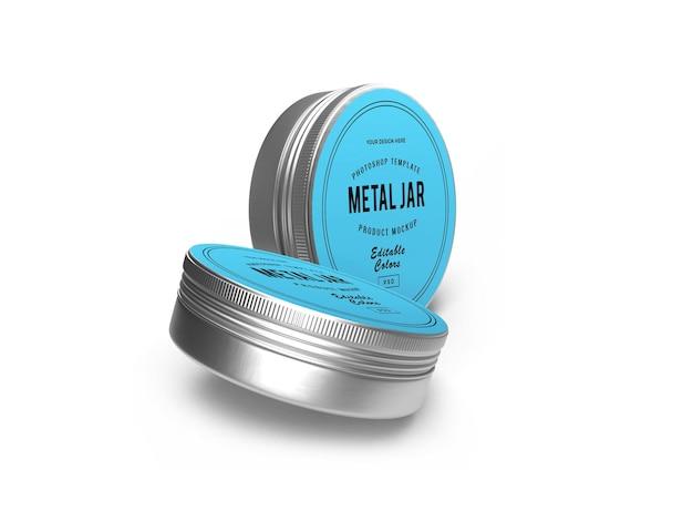 Mockup 3d di barattolo di latta in metallo