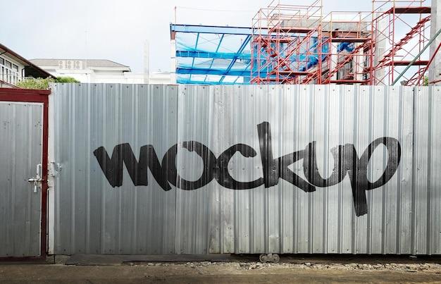 Mockup di costruzione di pareti in metallo realistico