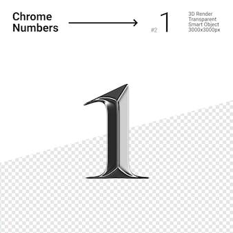 Cromo metallico numero 1 uno isolato