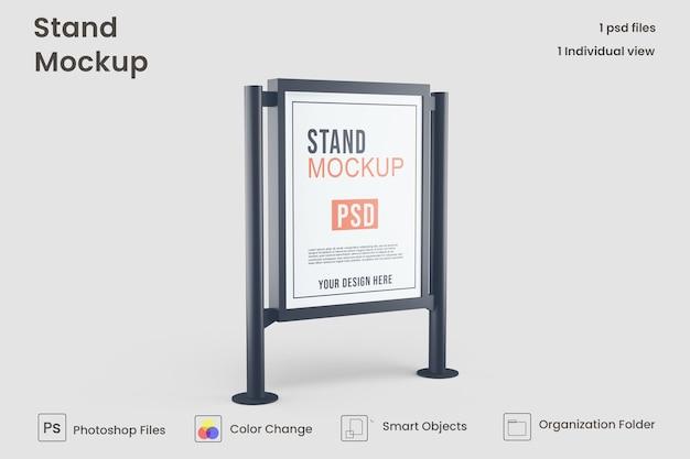Mockup di cartellone pubblicitario citylight metallico metà