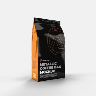 Vista frontale del mockup del sacchetto di caffè metallico