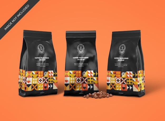 Mockup di sacchetto di caffè metallico