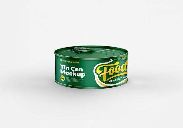Latta metallica per alimenti può mockup design
