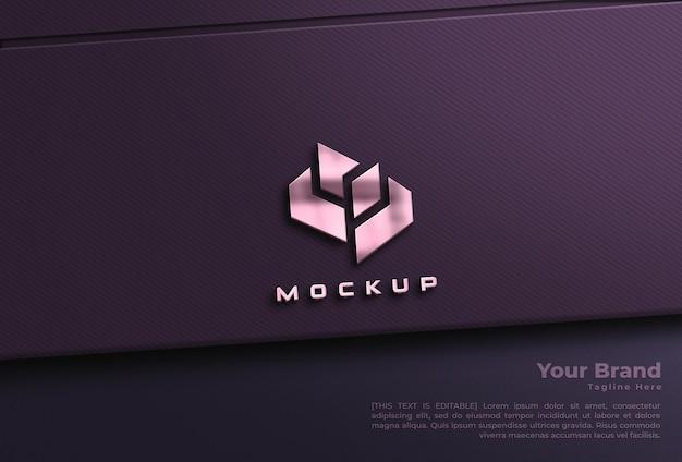 Mockup di logo metallico e mockup di informazioni sul marchio