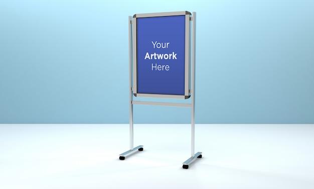 Mockup di supporto per bacheca metallica 3d rendering