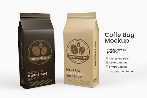 Mockup di borsa da caffè in carta metallizzata