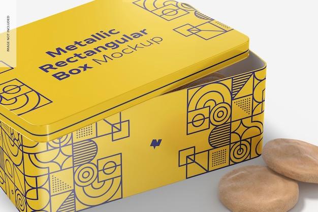 Mockup di scatola rettangolare metallica, primo piano