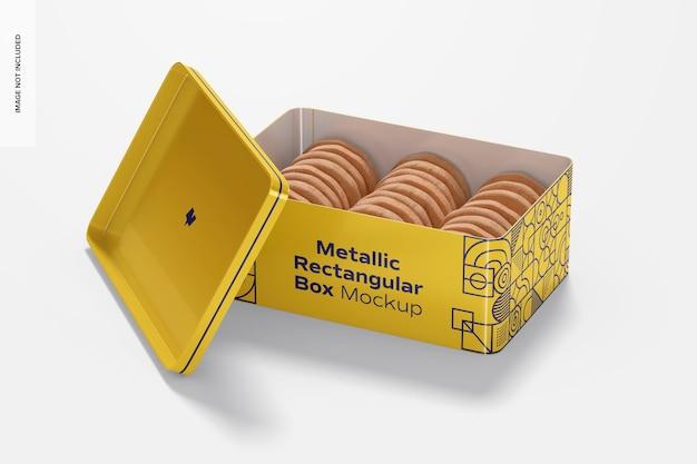 Mockup di scatola rettangolare metallico, aperto