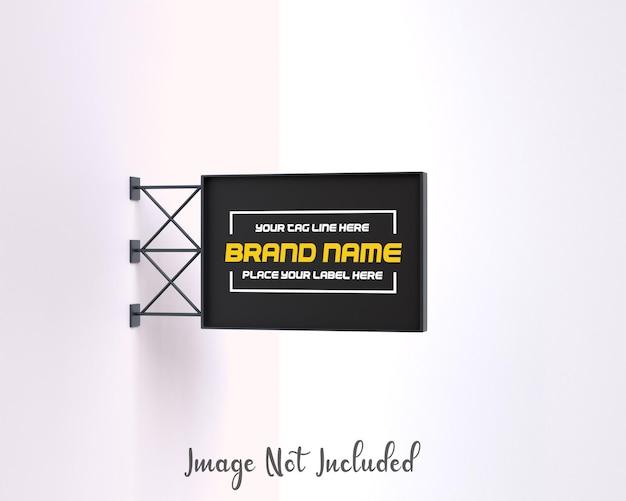 Mockup di cartello personalizzabile rettangolare metallico