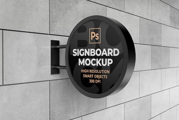 Mockup di insegna rotonda metallica per pubblicità o branding