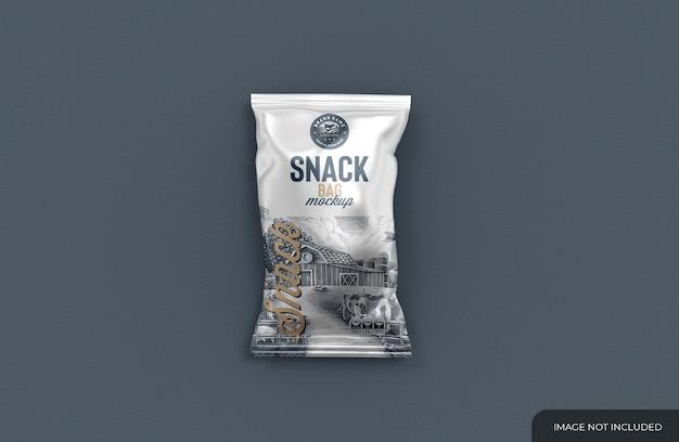 Mockup di borsa metallica per snack