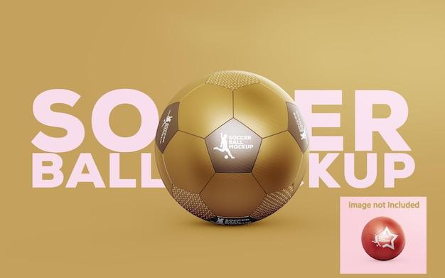 Mockup di pallone da calcio metallico