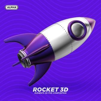 Razzo spaziale metallico 3d render