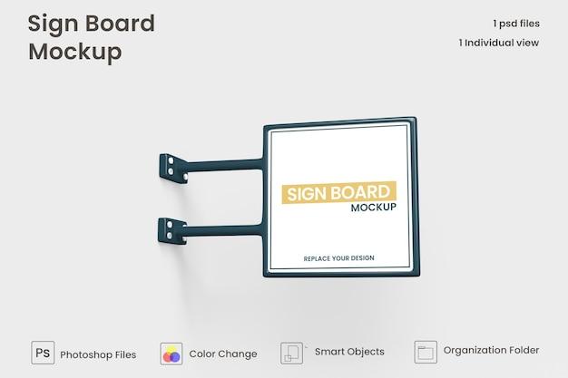 Mockup di cartello quadrato metallico isolato psd premium