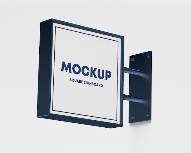 Mockup quadrato metallico dell'insegna