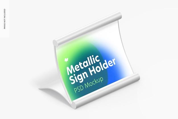 Mockup di supporto per cartello da tavolo metallico, vista isometrica a destra