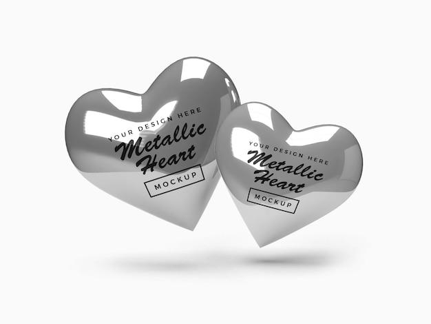 Design metallico mockup di cuore di san valentino