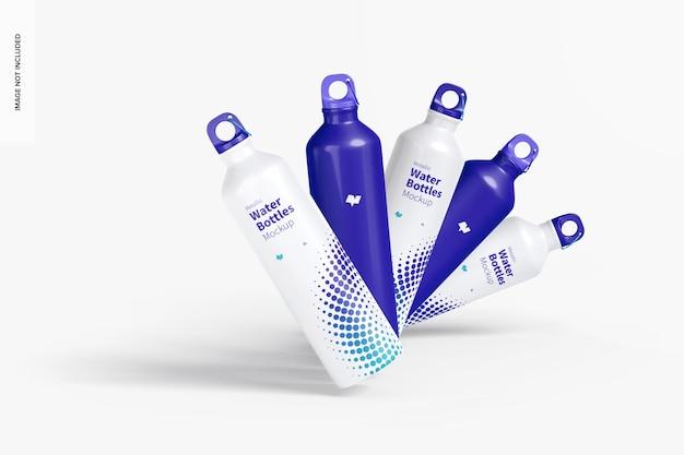 Bottiglie d'acqua metalliche impostare mockup, vista frontale