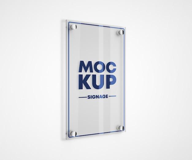 Mockup logo piastra in metacrilato