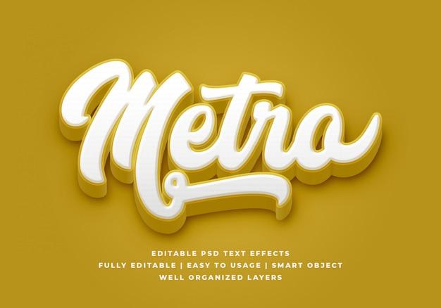 Metro 3d effetto stile testo