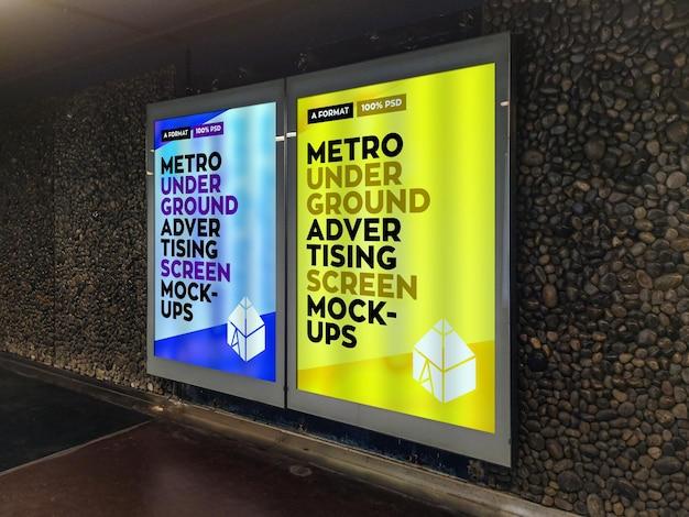 Mockup di cartelloni pubblicitari della metropolitana sotterranea