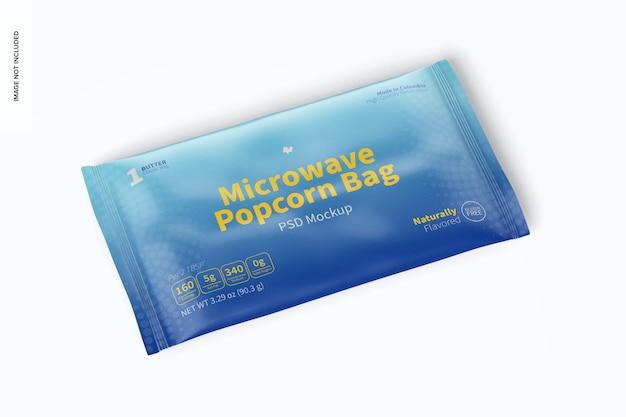 Mockup di sacchetto per popcorn a microonde