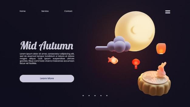 Modello di pagina di destinazione di metà autunno con composizione dell'illustrazione di rendering 3d