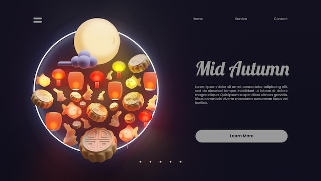 Modello di pagina di destinazione di metà autunno con illustrazione di rendering 3d