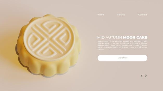 Modello di pagina di destinazione di metà autunno con rendering 3d della torta della luna