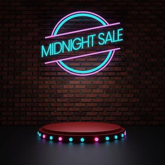 Podio di mezzanotte con neon e muro di mattoni