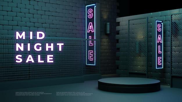 Visualizzazione promozionale del prodotto realistico del podio 3d di vendita di mezzanotte
