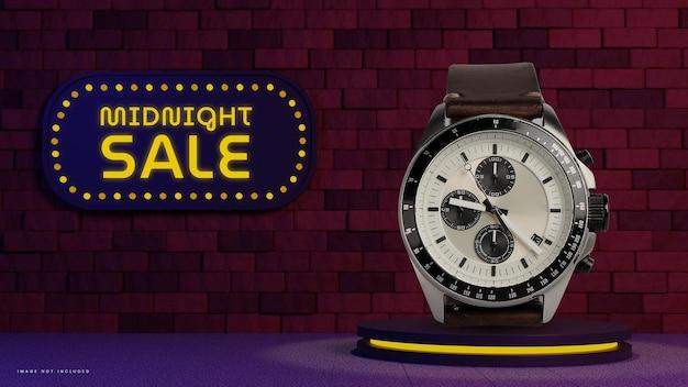 Display del prodotto sul podio del badge di vendita di mezzanotte