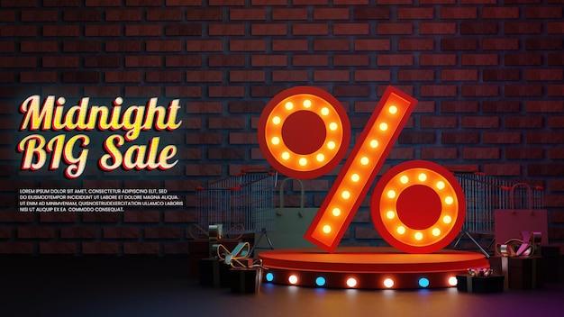 Saldi di mezzanotte con percentuale realistico e podio dell'icona dello shopping