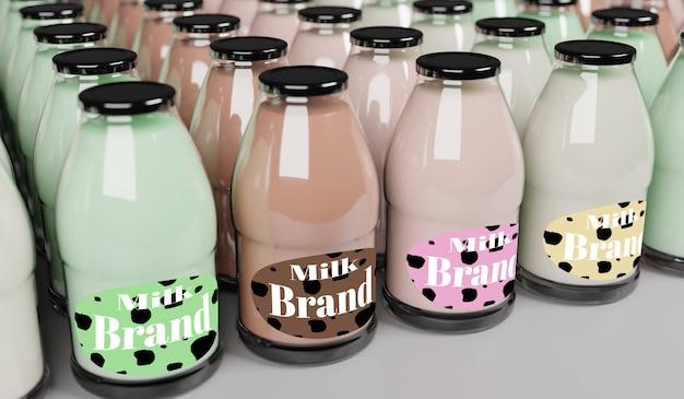 Modello di rendering 3d di latte per il design del modello di prodotto.