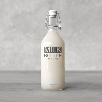 Mockup di bottiglia di latte