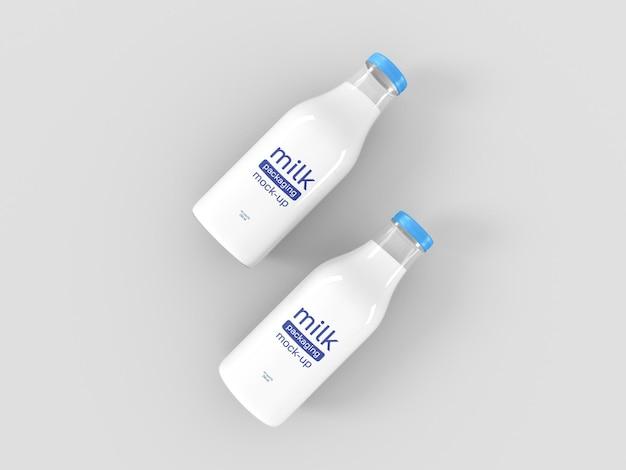 Mockup di imballaggio per bottiglie di latte