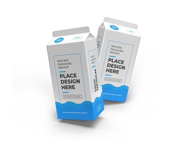 Scatola del latte e mockup di imballaggio per bevande