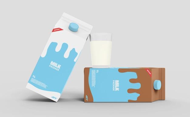 Mockup di imballaggio della scatola di cartone del latte
