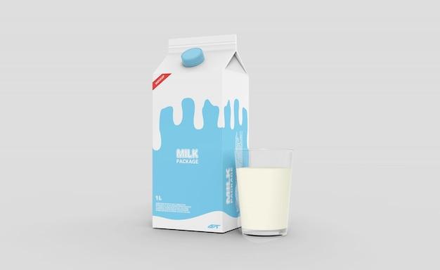 Scatola di cartone del latte con mockup di vetro