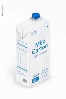 Mockup di cartone del latte, vista isometrica