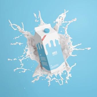 Cartone di latte con mockup splash