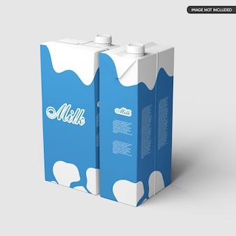 Mockup di scatola piccola di latte o succo di frutta